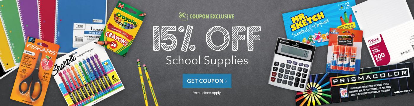 15% Off School Supplies