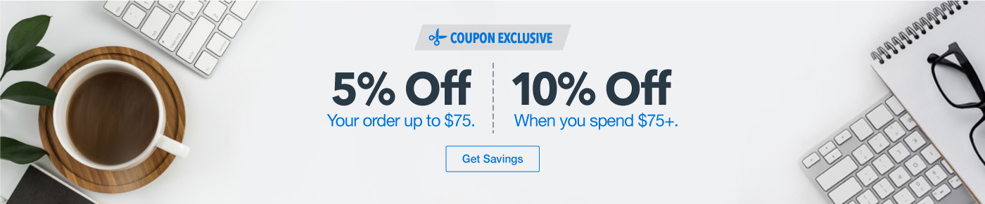 5% off orders up to $75 spent. 10% off orders above $75