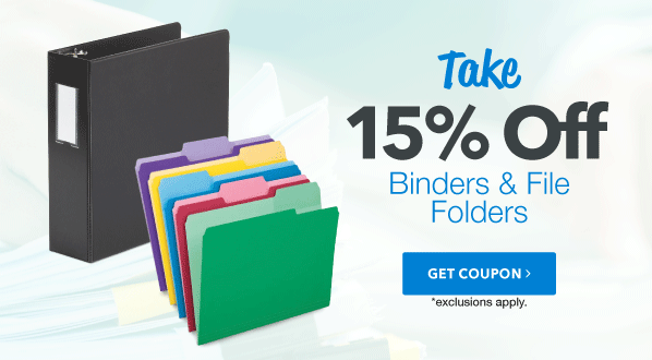 15% Off Binders & File Folders