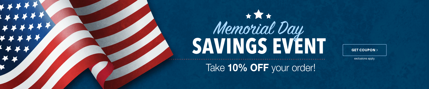Memorial Day Event-10% Off up to $100