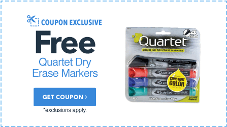 Free Quartet Dry Erase Markers with $75+ Order
