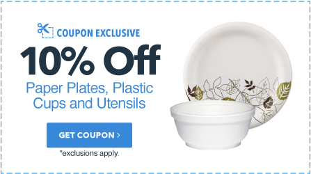 10% Off Paper Plates, Plastic Cups, & Utensils