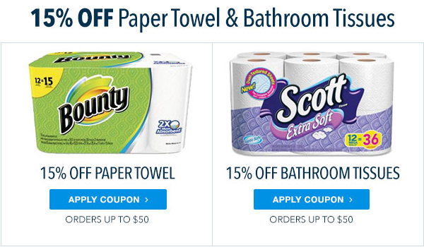 15% Off Paper Towel and Bathroom Tissues