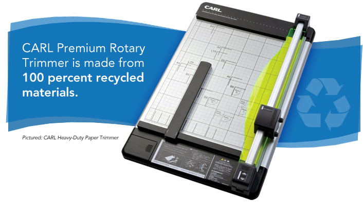 Carl premium rotary trimmer is made from 100 percent recycled materials