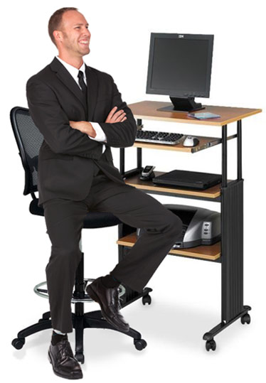 safco adjustable standup workstation and office star air grid mesh back drafting chair