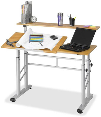 Captivating The Entire Table Easily Adjusts From A Sitting To Standing Height. The  Drafting Workstation Tilts Up ...