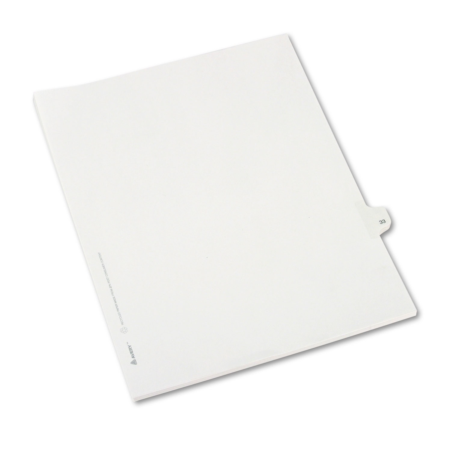 Title: 33 White Avery Dennison 82231 Allstate-Style Legal Side Tab Divider 25//Pack Letter