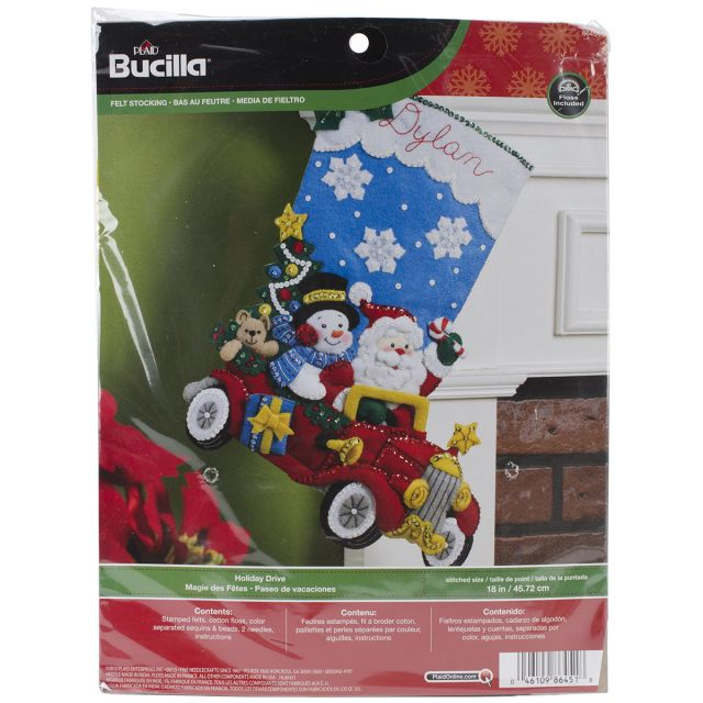Holiday Drive Stocking Felt Applique Kit
