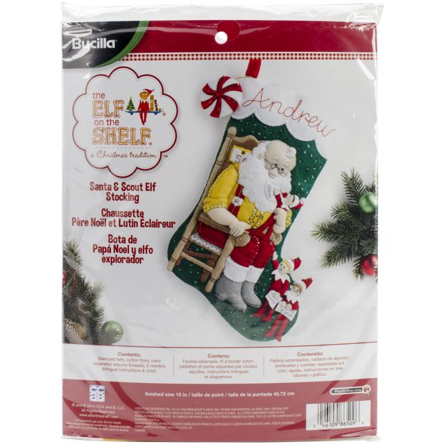 NOTM107413 - Elf On The Shelf Santa & Scout Stocking Felt Applique Kit