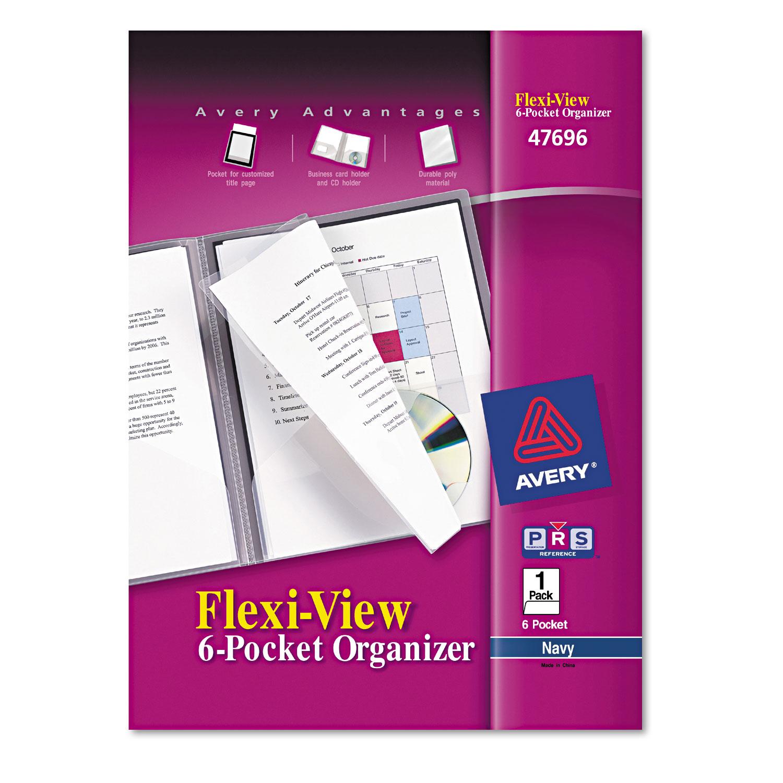 Avery Flexi-View Six-Pocket Polypropylene Organizer, 150-Sheet Cap., Translucent/Navy