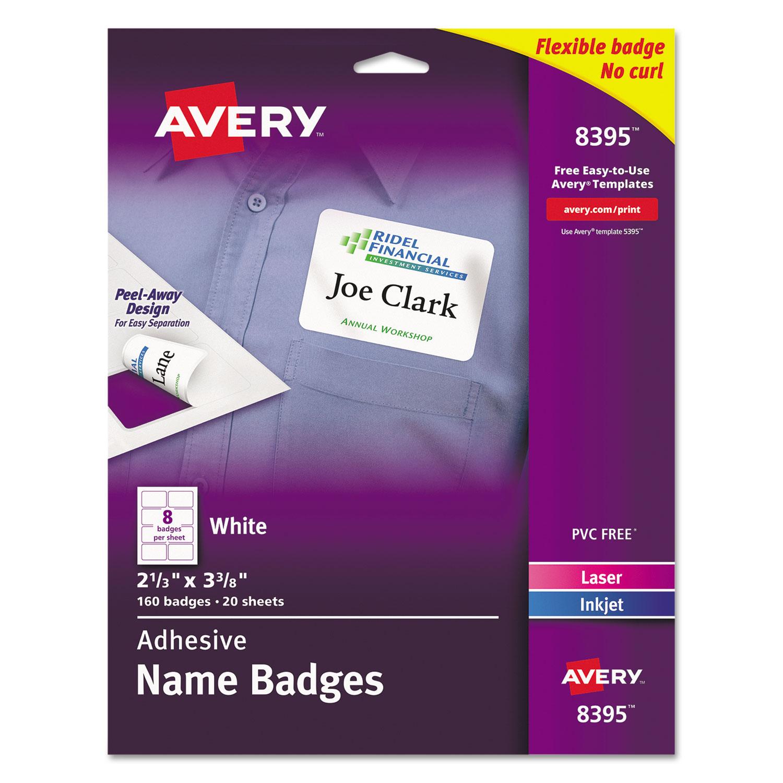 avery flexible self adhesive laser inkjet name badge labels 2 1 3 x
