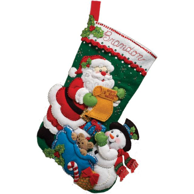NOTM051498 - Santa's List Stocking Felt Applique Kit