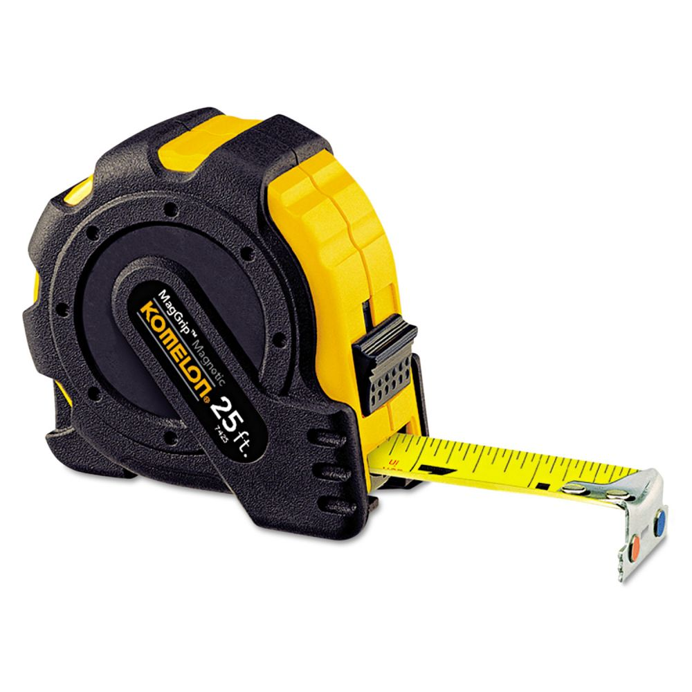 "Komelon MagGrip Tape Measure, 1"" x 25ft, Metal Case, Black/Yellow, 1/16"" Graduation"