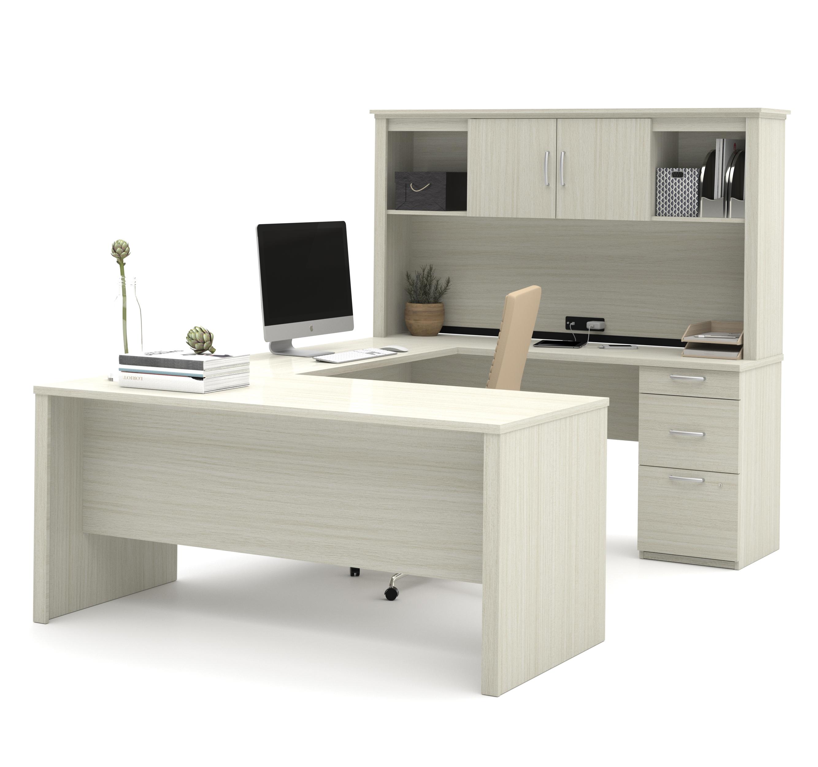 Bestar Logan U-Shaped Desk in White Chocolate