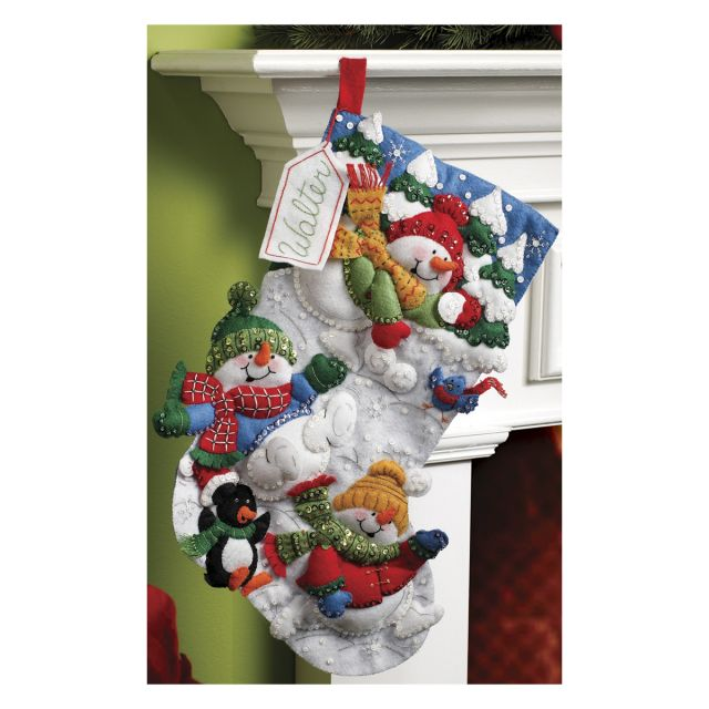 Snow Fun Stocking Felt Applique Kit