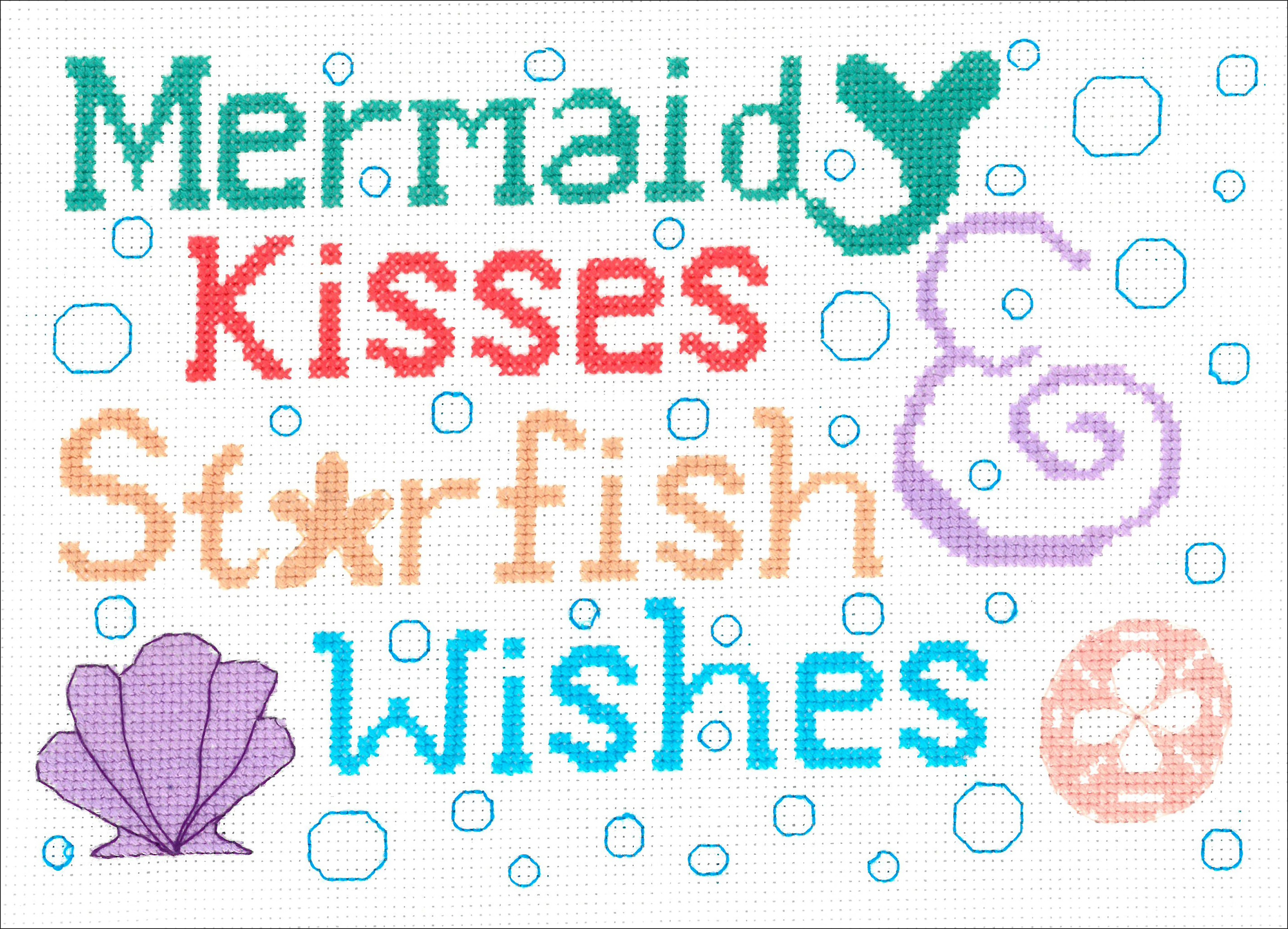 Mermaid Kisses Counted Cross Stitch Kit -  M & R Technologies, I3119