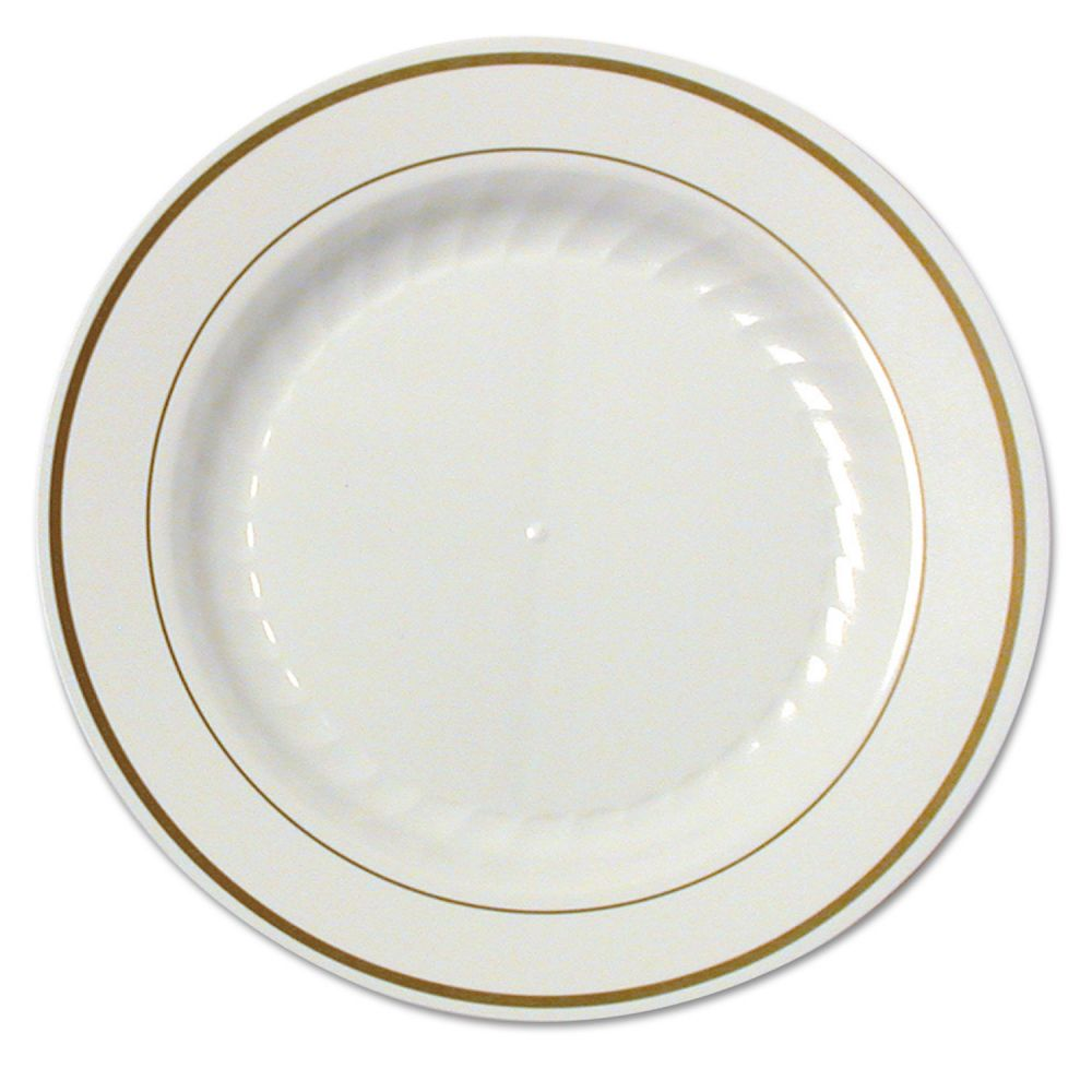 WNA Masterpiece Plastic Plates 7 1/2 in Ivory w/Gold Accents  sc 1 st  eBay & WNA Masterpiece Plastic Plates 7 1/2 in Ivory w/Gold Accents ...