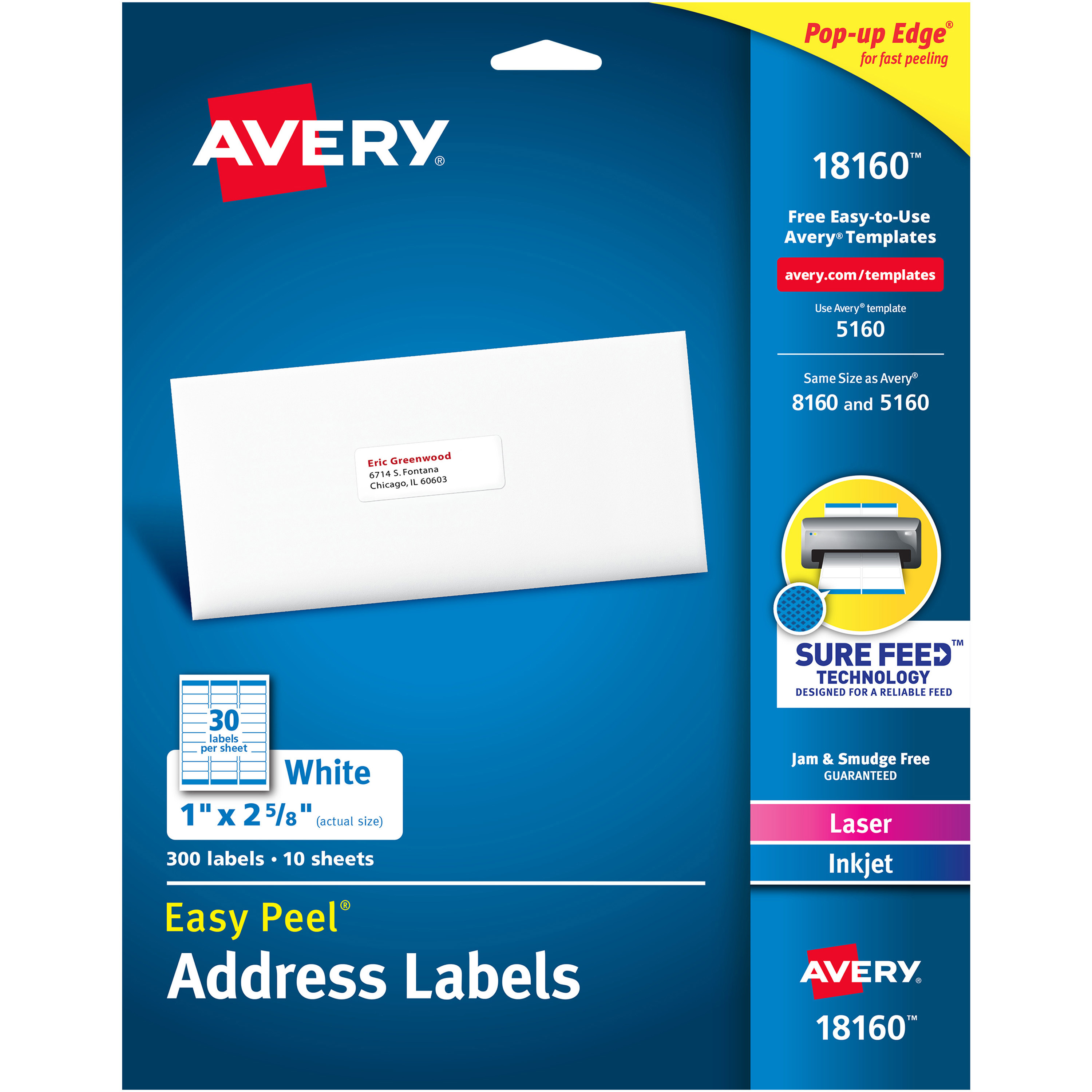 Avery Easy Peel Address Labels Ave18160 Officesupply