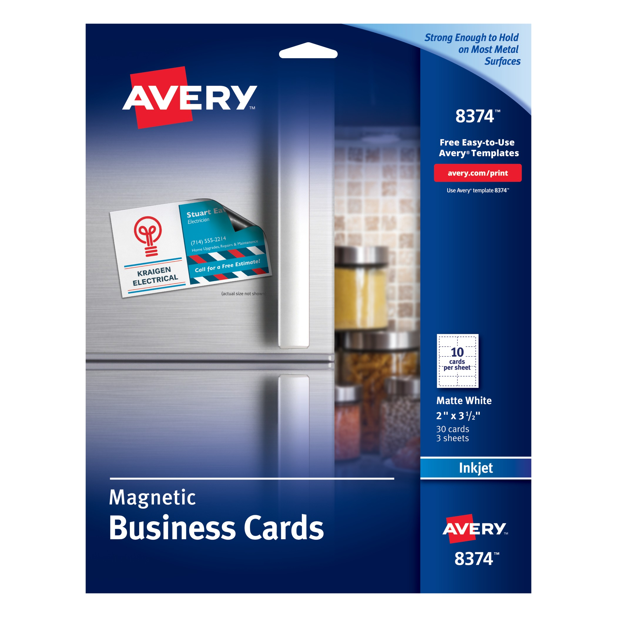 Avery Magnetic Business Cards, 2 x 3 1/2, White, 10/Sheet, 30/Pack ...