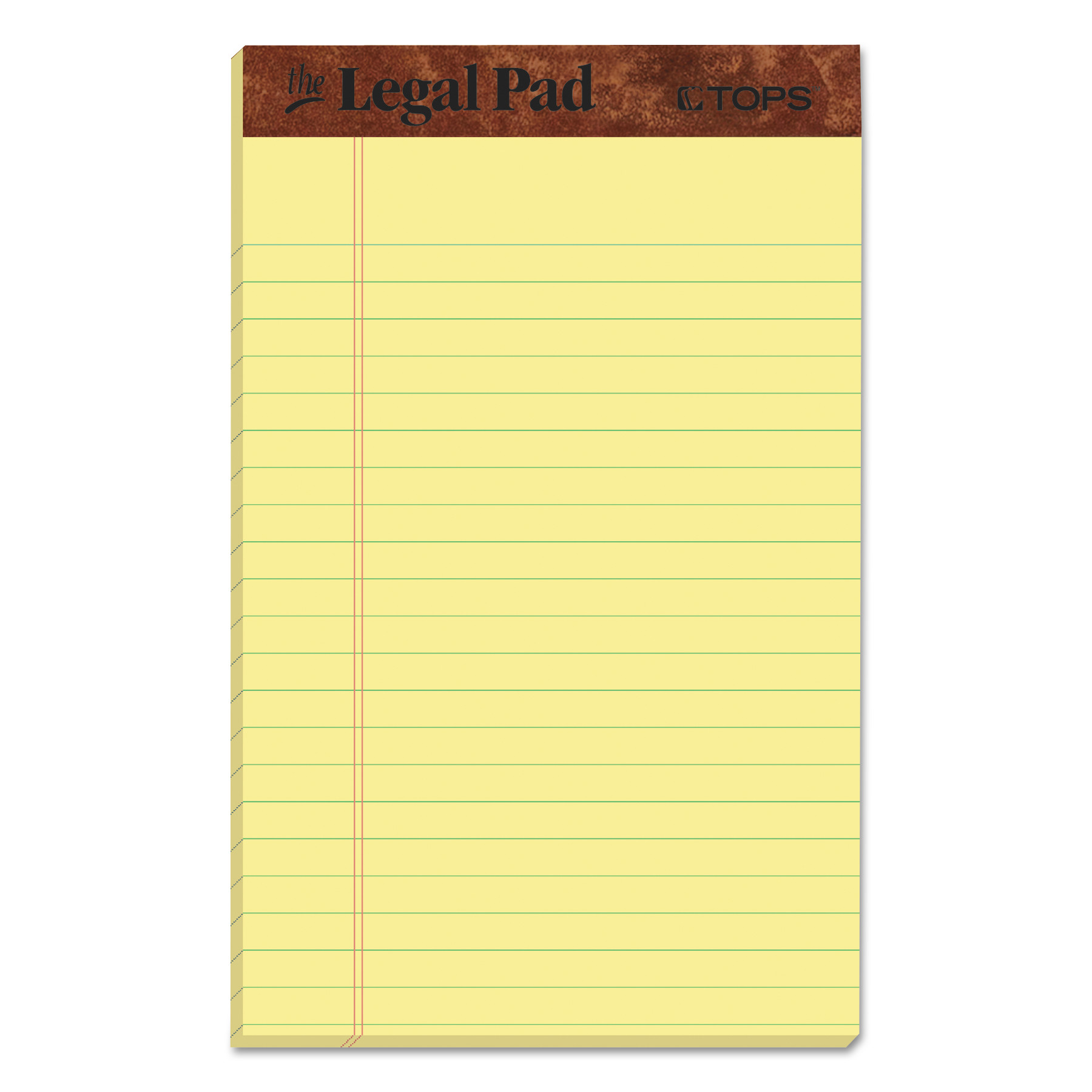 """TOPS """"The Legal Pad"""" Perforated Pads, Narrow Rule, 36 x 36, Canary, 360  Sheets, Dozen"""