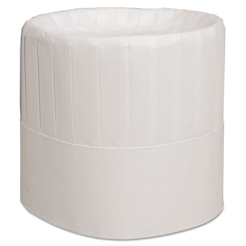 Royal Pleated Chef's Hats, Paper, White, Adjustable, 7 in. Tall, 28/Carton