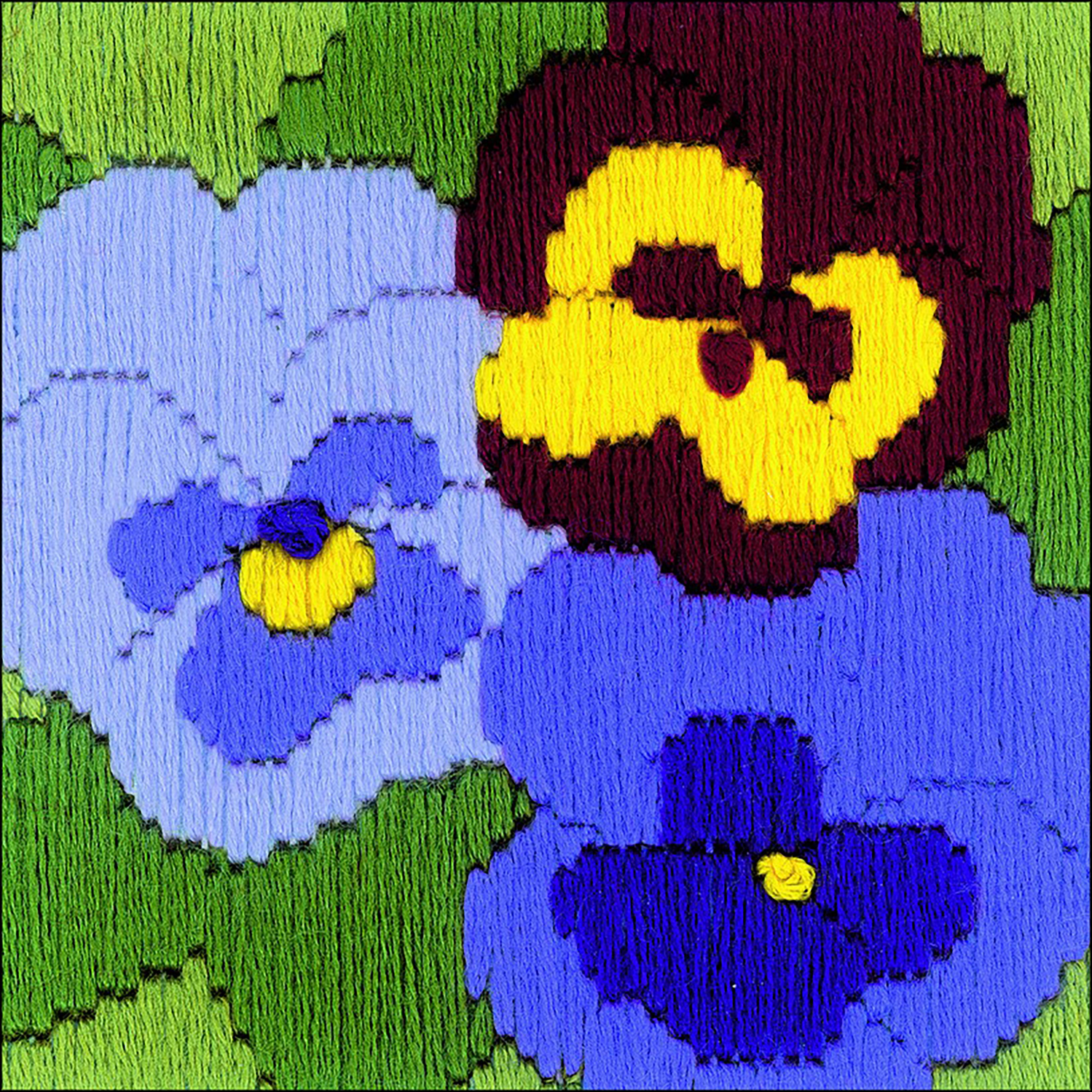 Three Pansies Counted Cross Stitch Kit -  RIOLIS, R1633