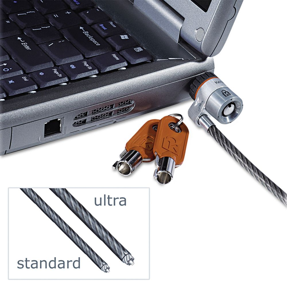 Kensington MicroSaver Keyed Ultra Laptop Lock, 6ft Steel Cable, Two Keys