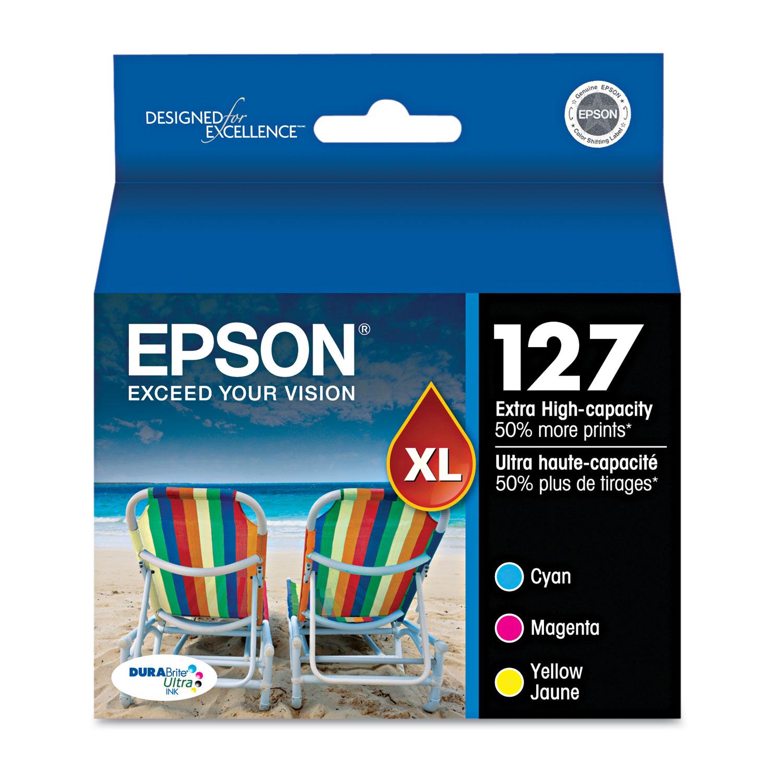 Epson T127520 (127) DURABrite Ultra Extra High-Yield Ink, Cyan/Magenta/Yellow, 3/PK
