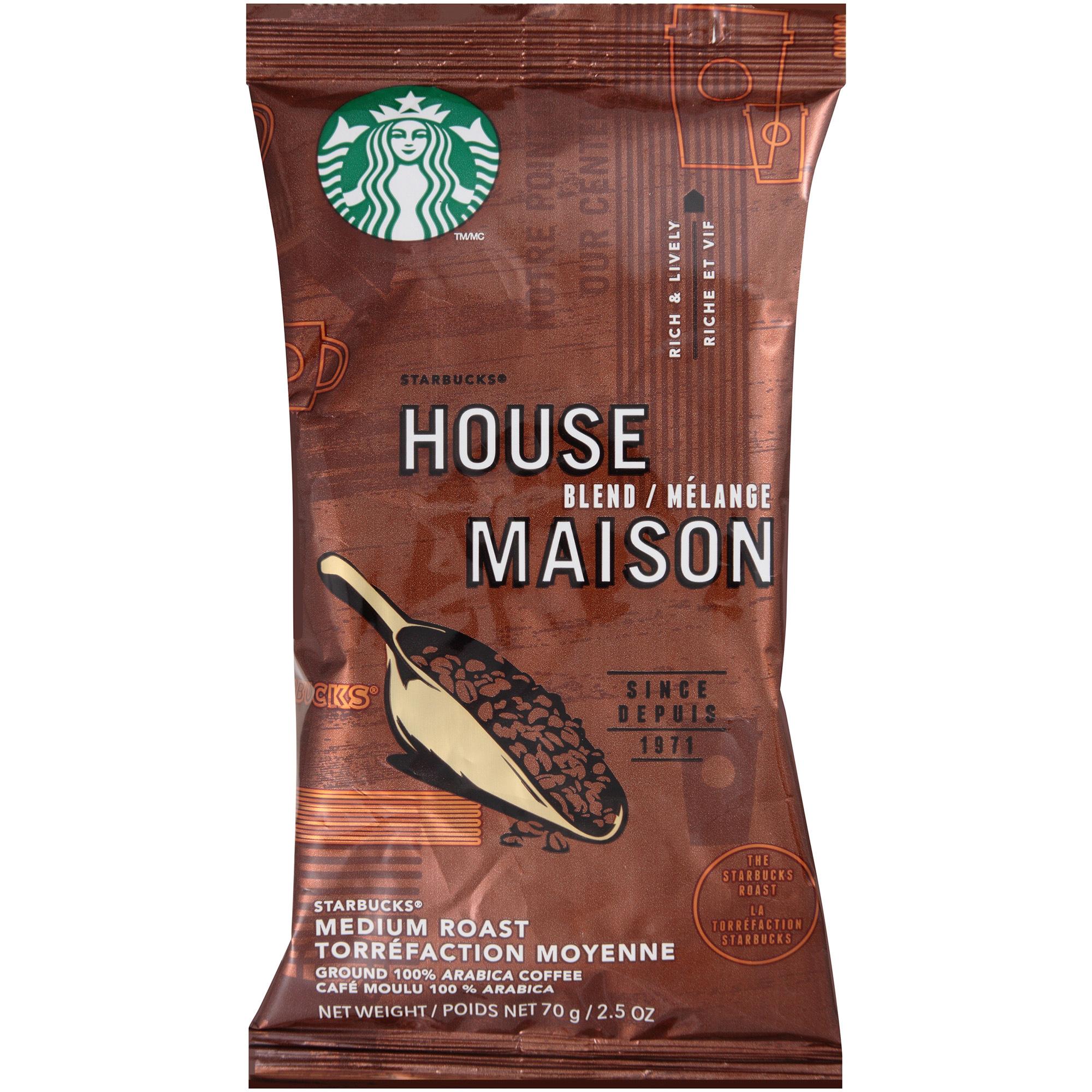 Starbucks Coffee, Regular House Blend, 2 1/2 oz Packet, 18/Box