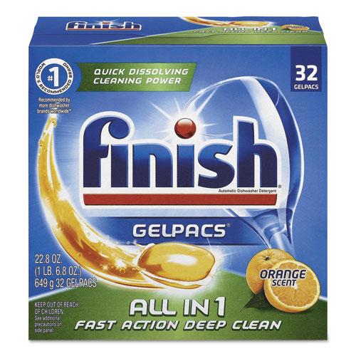 FINISH Dish Detergent Gelpacs, Orange Scent, Box of 32 Gelpacs, 8 Boxes/Carton