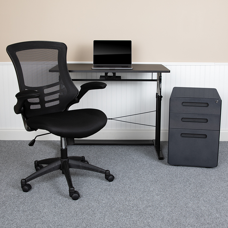 Flash Furniture Work From Home Kit Adjustable Computer Desk Ergonomic Mesh Office Chair And Locking Mobile Filing Cabinet With Inset Handles Officesupply Com
