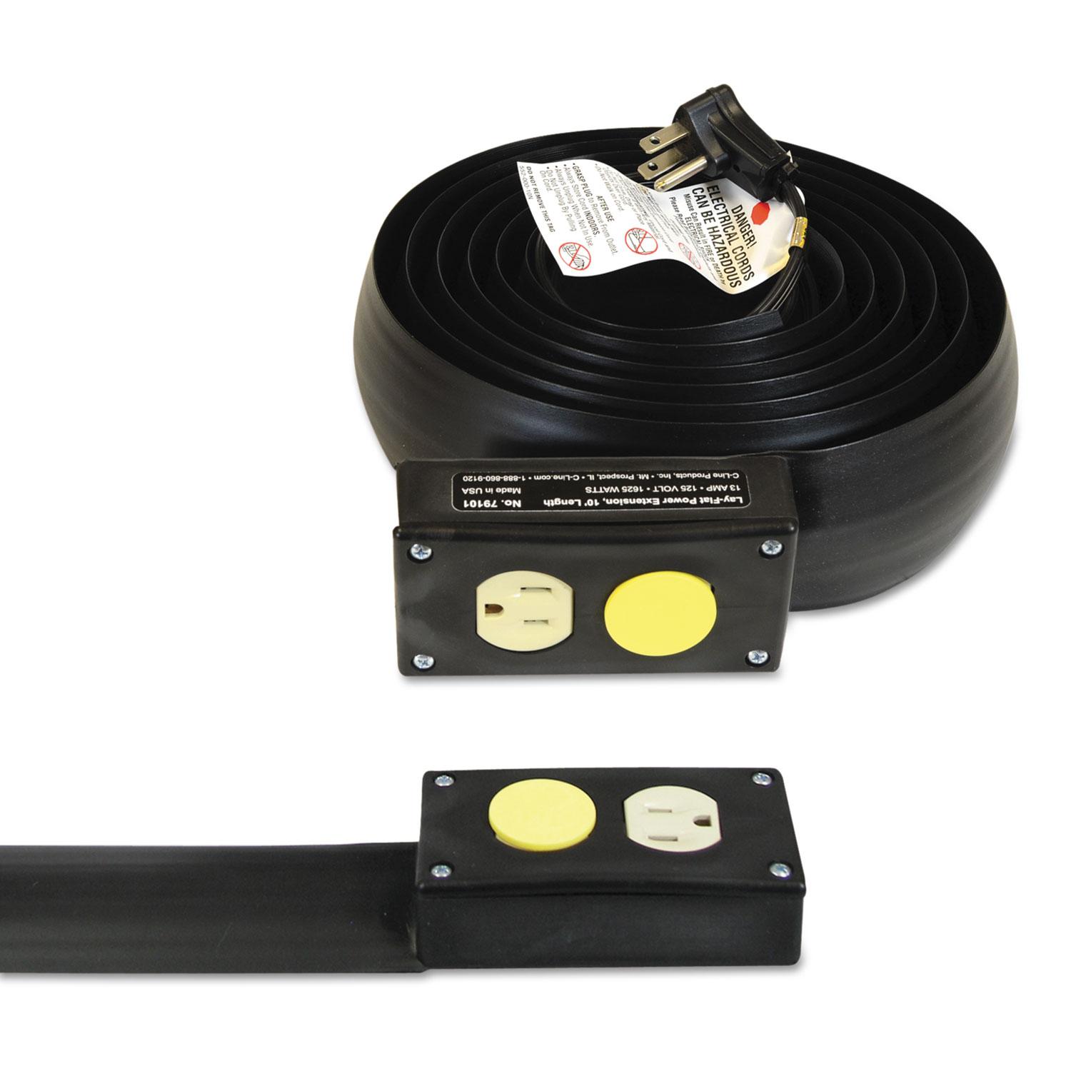 c line lay flat power extension and cord cover 13 amps 125 v 10ft black ebay. Black Bedroom Furniture Sets. Home Design Ideas