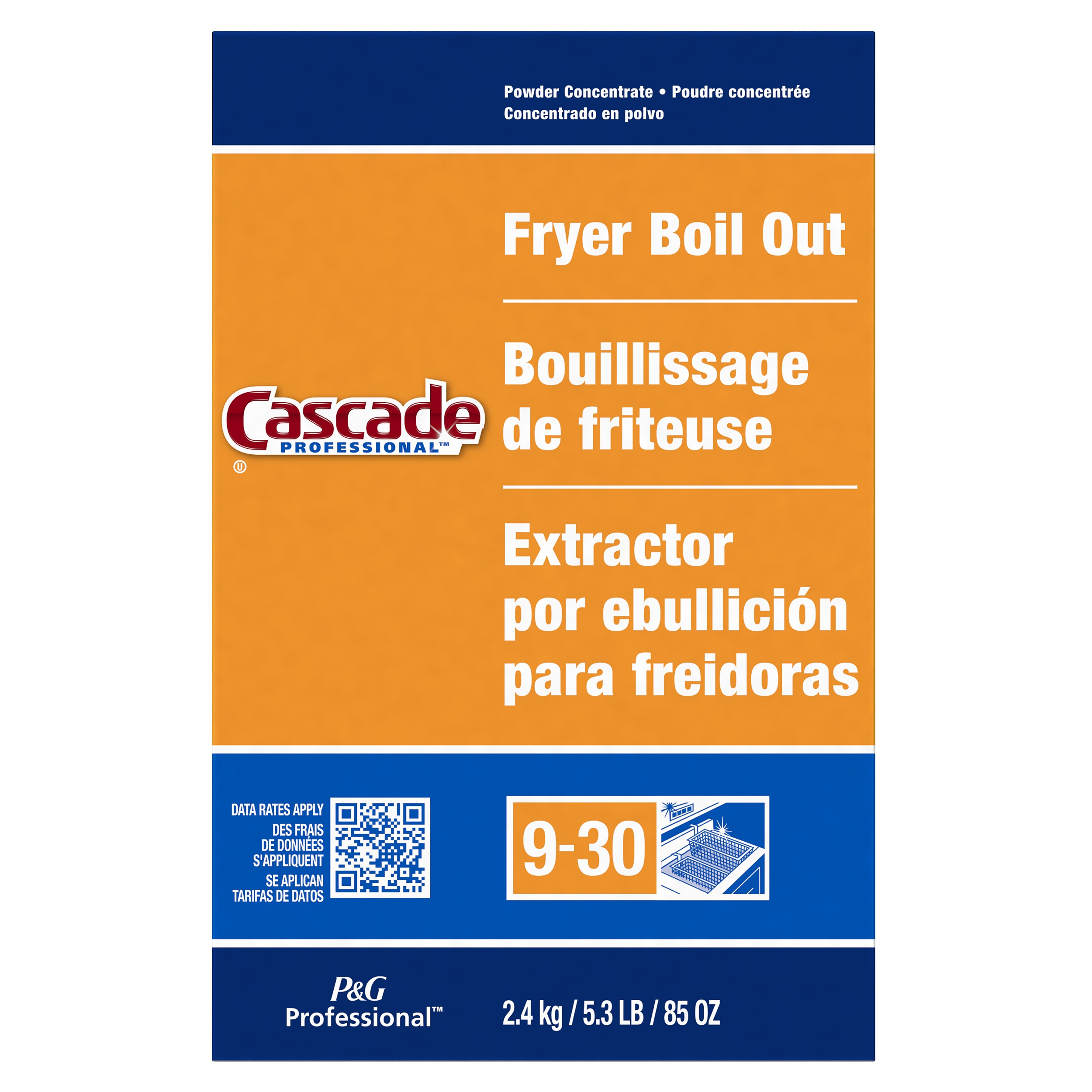 Cascade Professional Fryer Boil Out, Concentrated Powder, 85 oz Box,  6/Carton