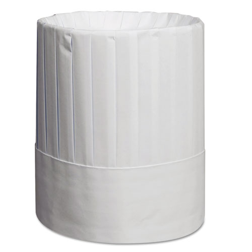 Royal Pleated Chef's Hats, Paper, White, Adjustable, 9 in Tall, One Size, 24/Carton