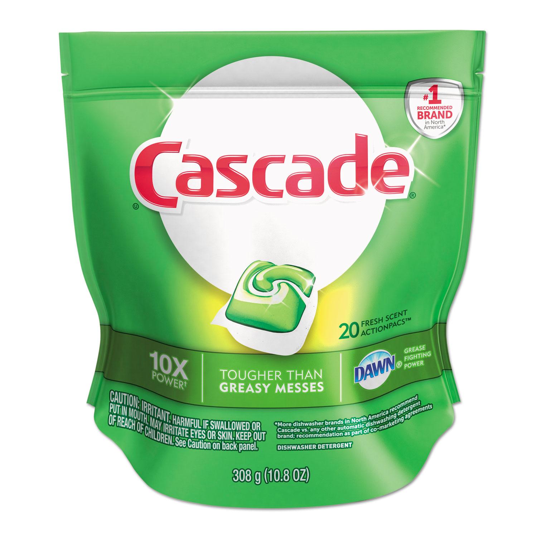 Cascade ActionPacs, Fresh Scent, Blue, 10.8 oz Reclosable Bag, 20/Bag