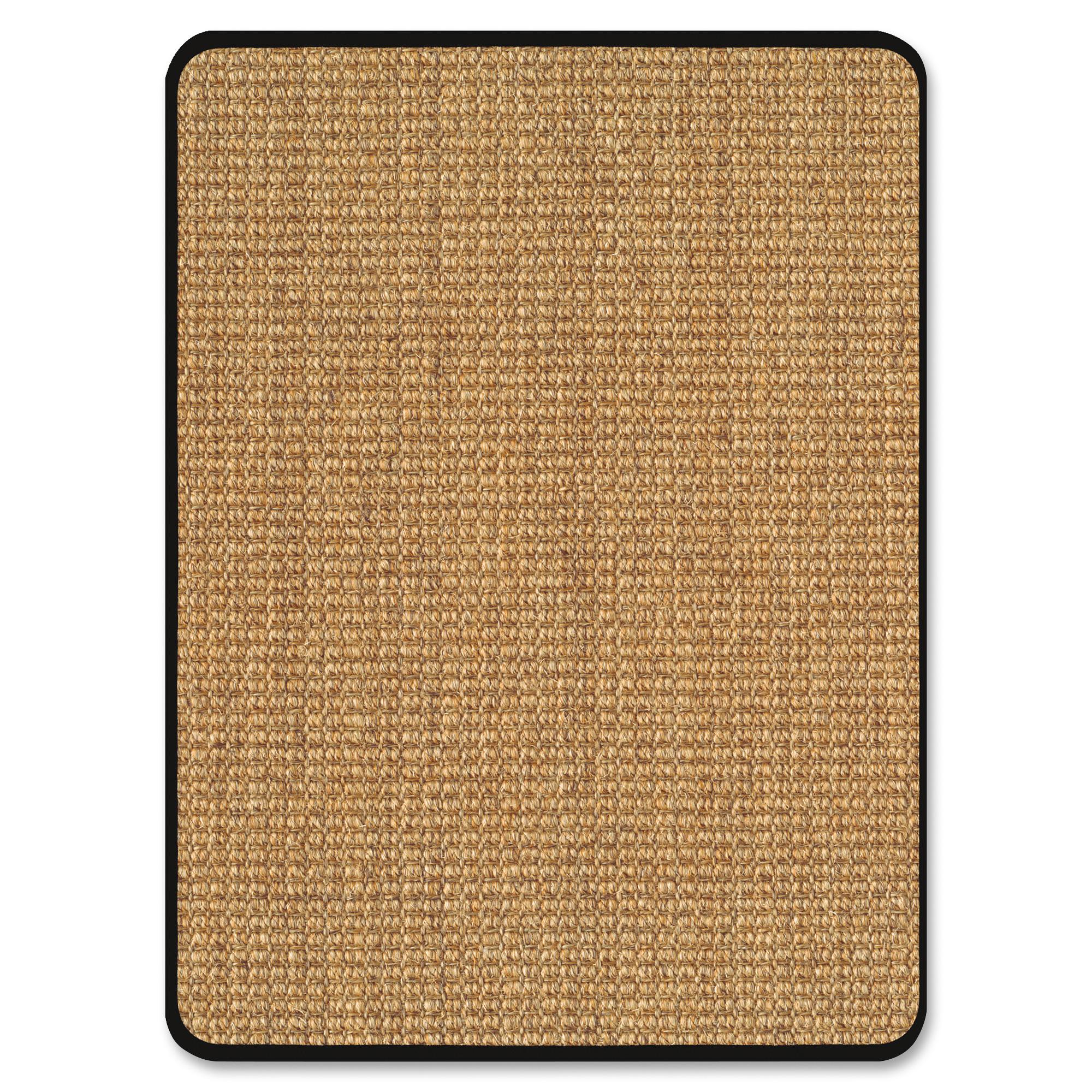 "Deflect-o Harbour Pointe Color Band Sisal Decorative Chairmat for Hard Floors - Hard Floor, Wood Floor, Tile Floor, Vinyl Floor - 60"" Length x 46"" Width - Rectangle - Vinyl - Light Brown"