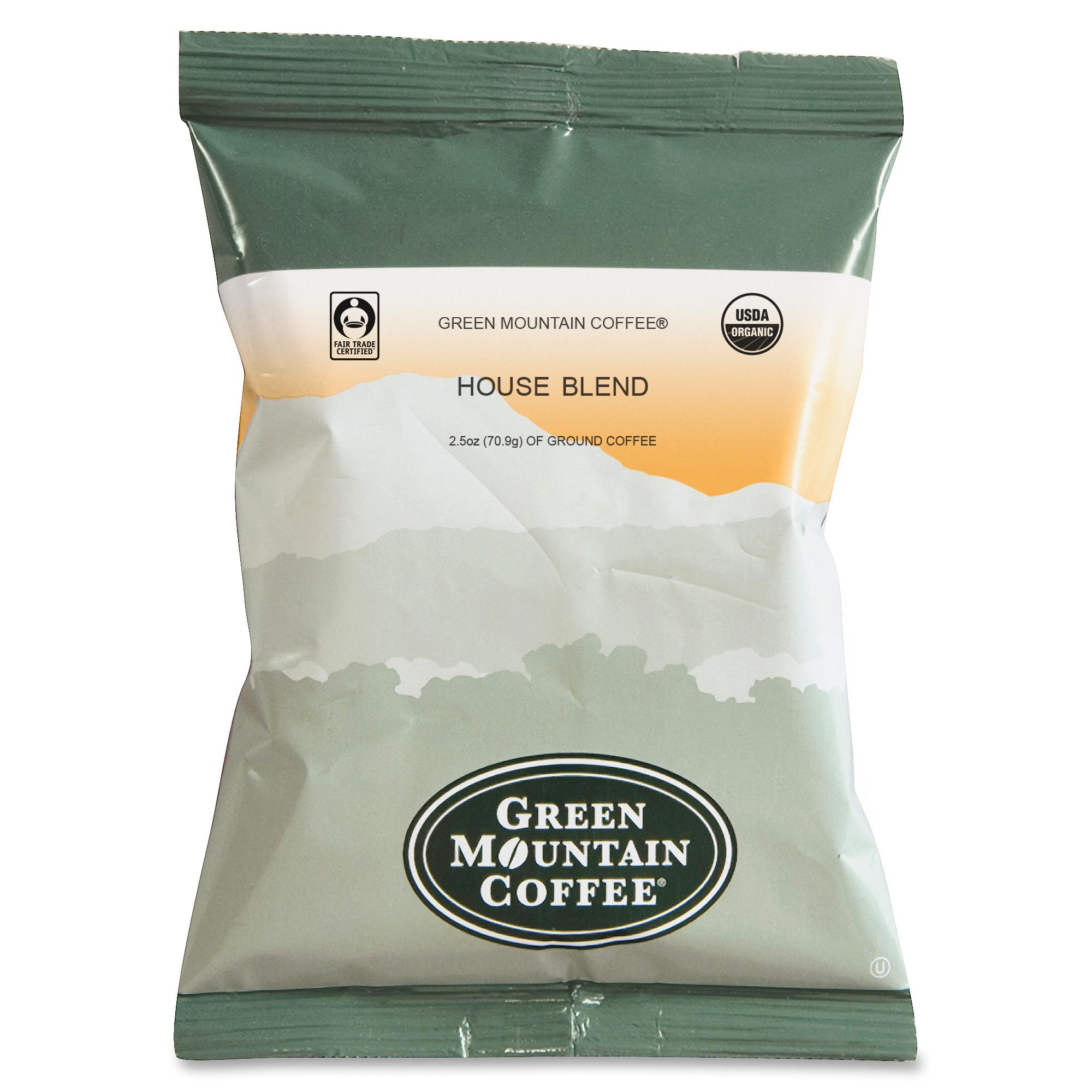 Green Mountain Coffee Roasters Fair Trade Organic House Blend Coffee Fractional Packs 2.5oz 50/Carton (Green Mountain Coffee Roasters 4493)