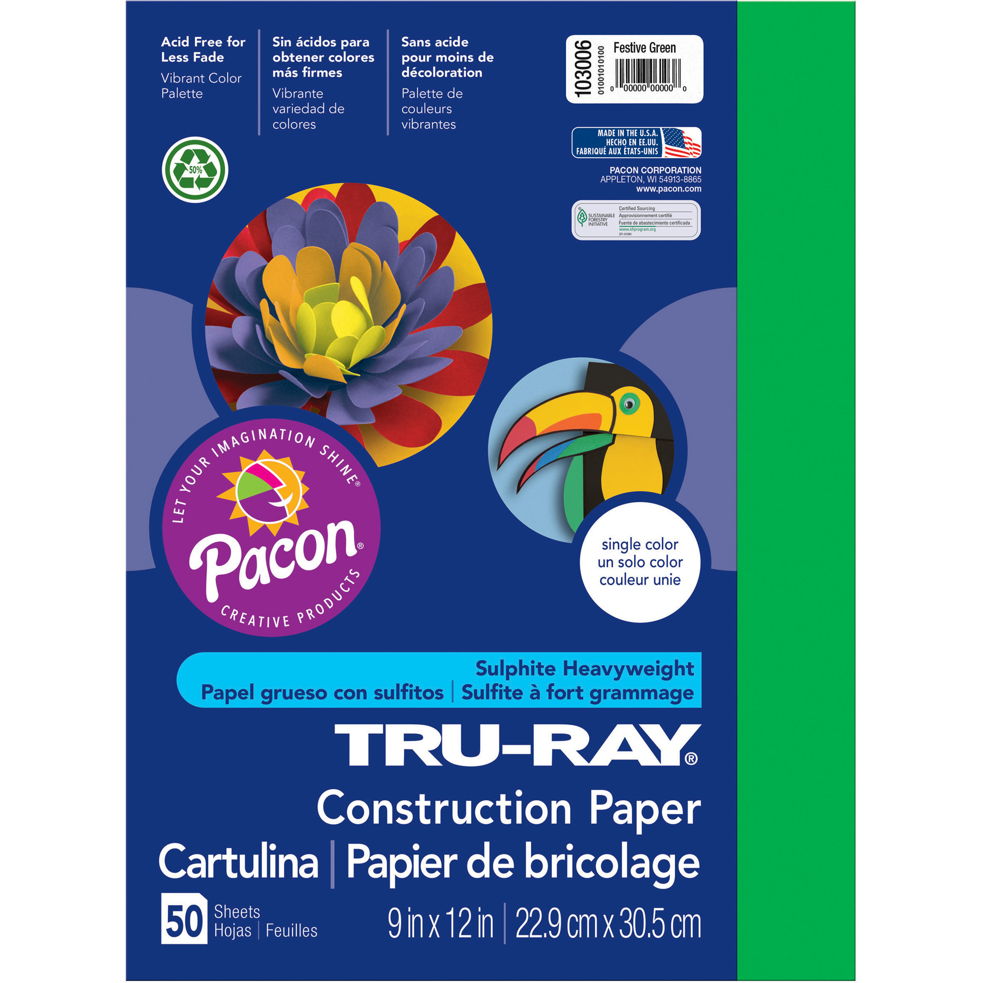 Pacon Tru-Ray Construction Paper, 76 lbs., 9 x 12, Festive Green, 50 Sheets/Pack