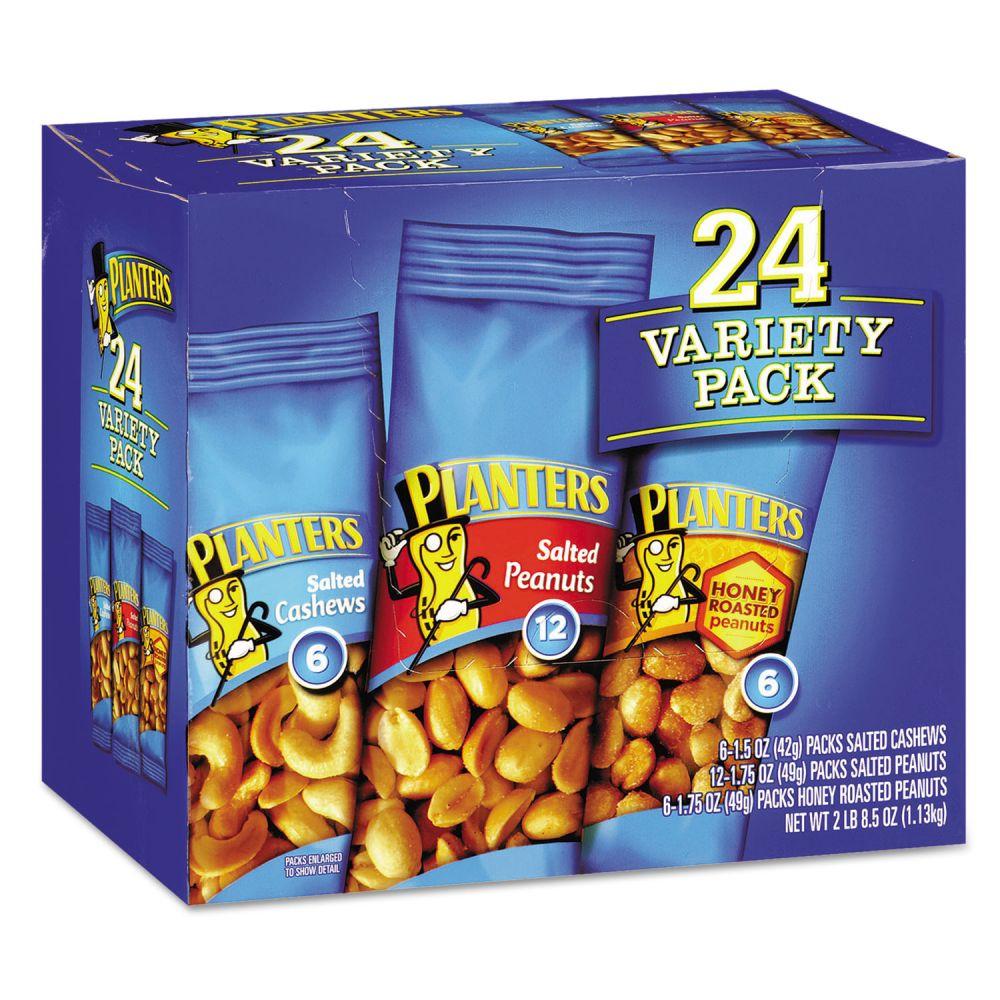 planters variety pack peanuts & cashews, 1.75 oz/1.5 oz bag, 24/box
