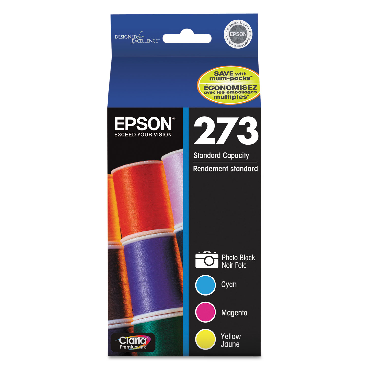 Epson 273 Claria Cyan/Magenta/Yellow Ink Cartridges (T273520)