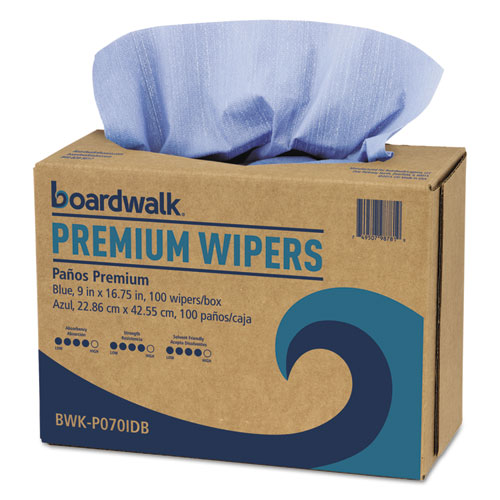"""BWK Hydrospun Wipers, 9"""""""" x 16-3/4"""""""", Blue, 1000 Per Carton - BOARDWALK P070IDB"""