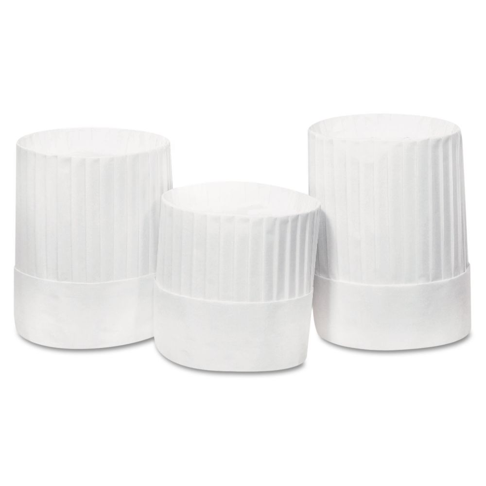 "Royal Pleated Chef's Hats, Paper, White, Adjustable, 10"" Tall, 24/Carton"