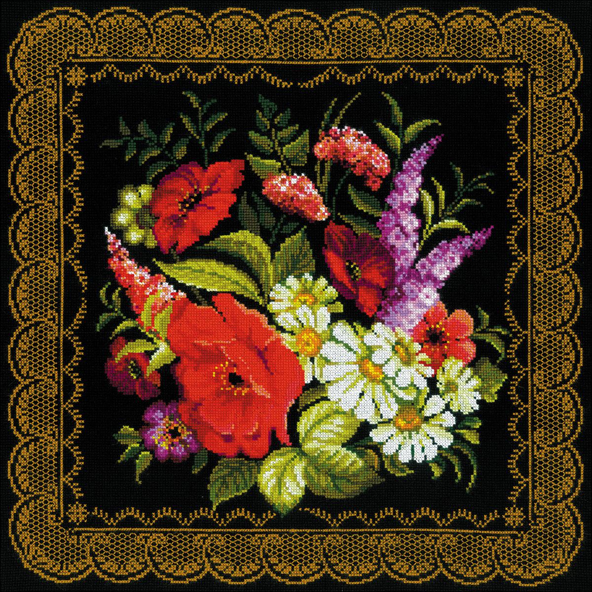 Zhostovo Painting Cushion Counted Cross Stitch Kit -  RIOLIS, R1642