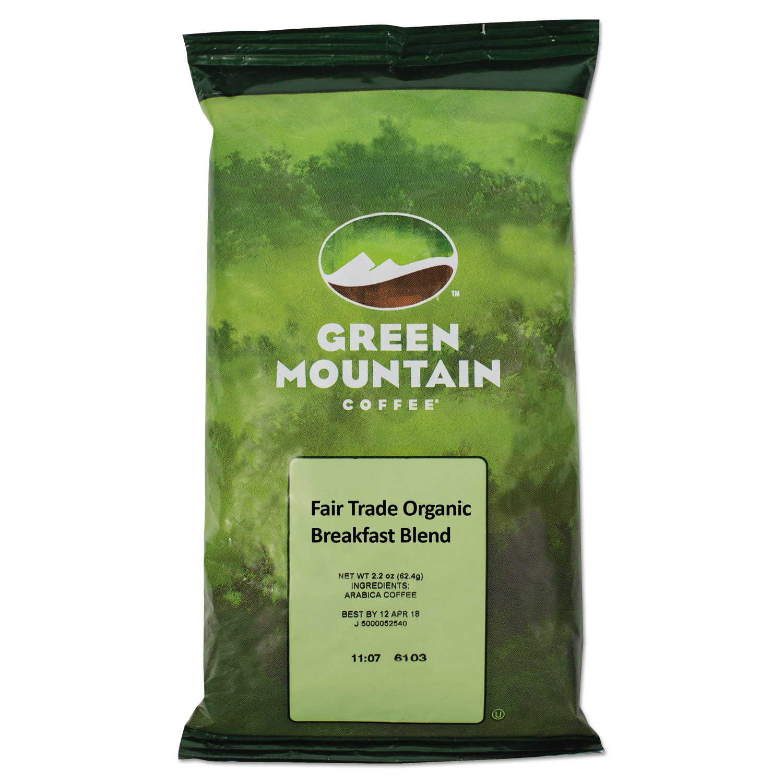 Green Mountain Coffee Roasters Fair Trade Organic Breakfast Blend, 2.5oz Fractional Packs, 50/Carton