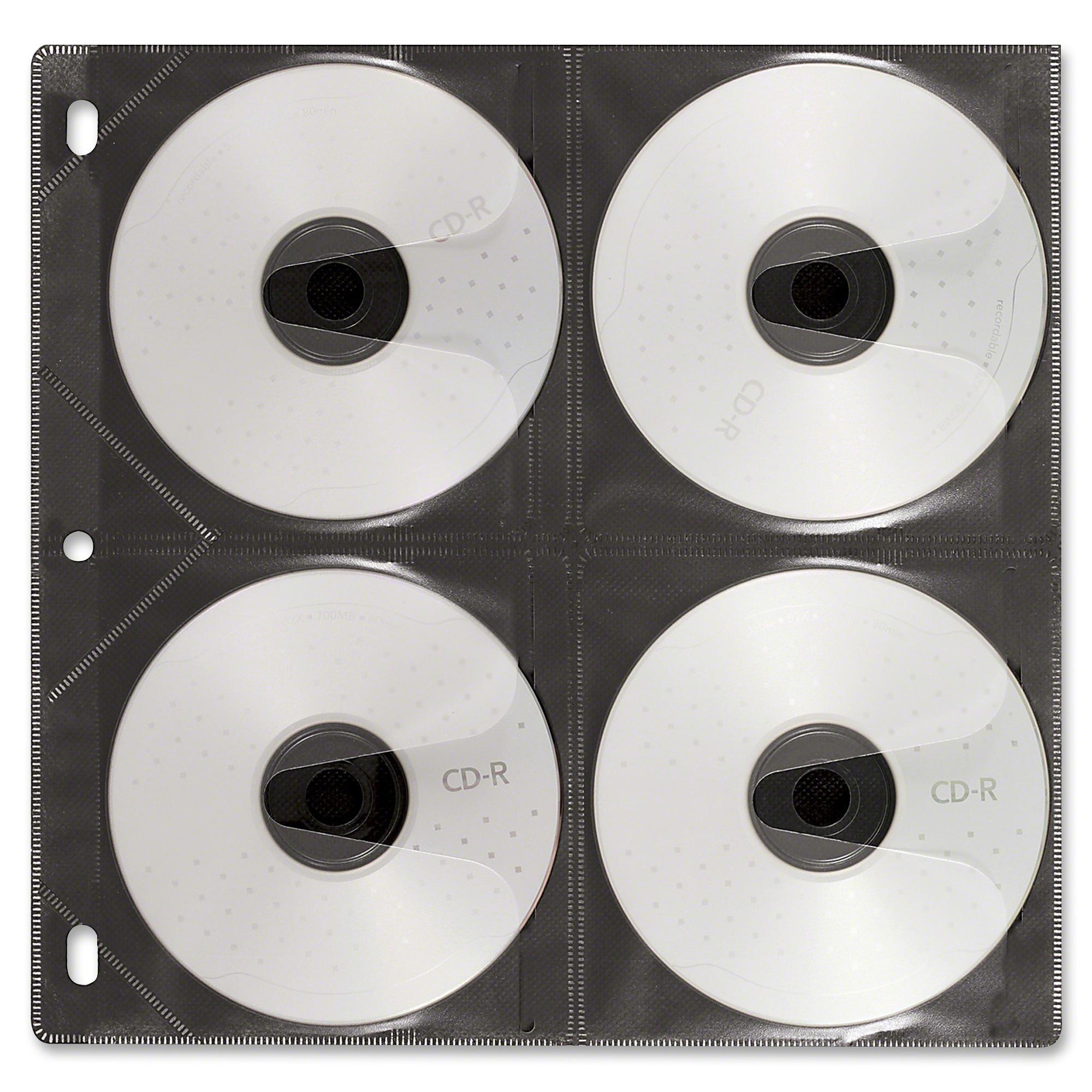 Vaultz Media Binder Sleeves - Album - Slide Insert - Black, Clear - 8 CD/DVD