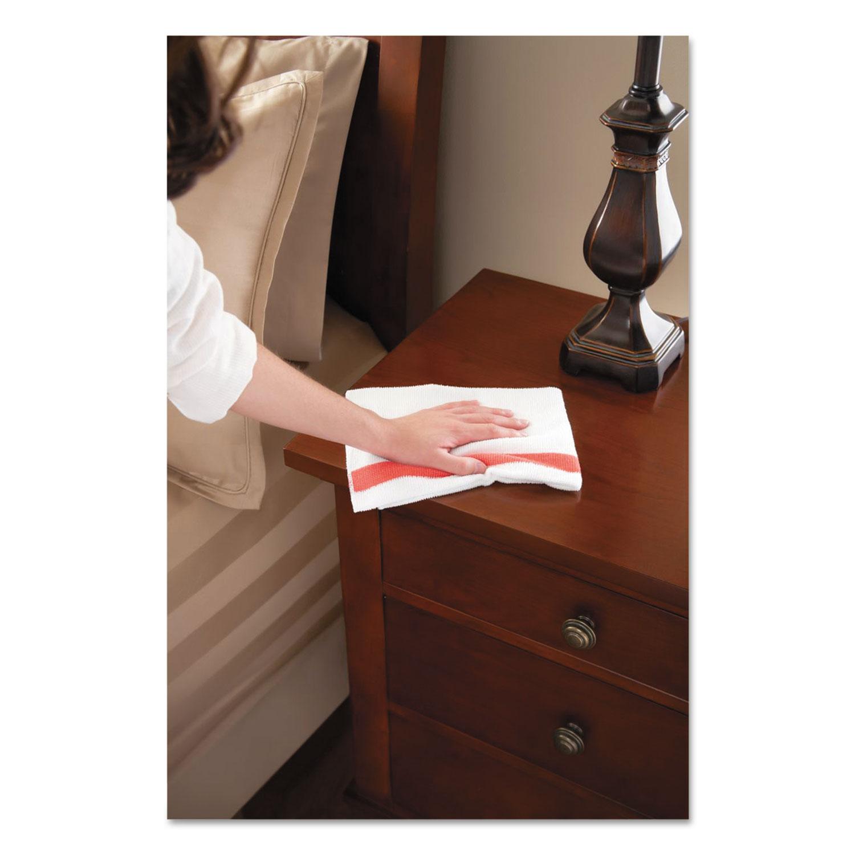 Rubbermaid Commercial HYGEN HYGEN Sanitizer Safe Microfiber Cloth, 16 x 19, White/Red, 288/Carton -  Newell Rubbermaid, Inc, 1805727