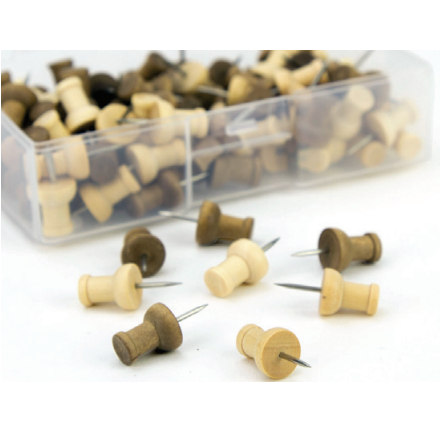 Free U Brands Wood Pushpin Set