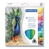 Staedtler Triangular Colored Pencil Set, H/#3, 2.9mm, 72 Assorted Colors
