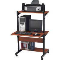 Tiffany Industries Soho Adjustable Mobile Computer Table, 32w x 31d x 50h, Medium Cherry Laminate MLN8432SOMECBLK