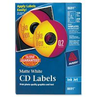 Avery Inkjet CD Labels, Matte White, 100/Pack AVE8691